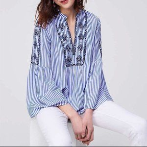Loft Blue and White Stripe Boho Top Bell Sleeves